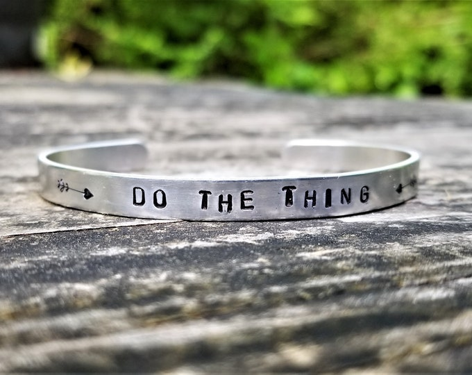 Do The Thing: Hand Stamped Metal Cuff Bracelet, Aluminum