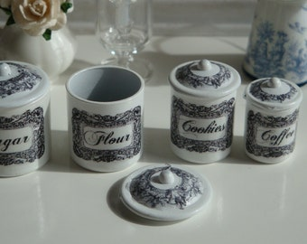 Dollhouse Miniature Kitchen Vintage  Black & White Canisters