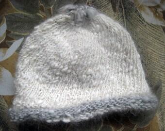 Handspun Angora Rabbit Baby Hat, Handspun, White & Blue-gray Trim, Newborn to 15 Mo., Heirloom Quality, Unique, Extreme Confort, My Farm