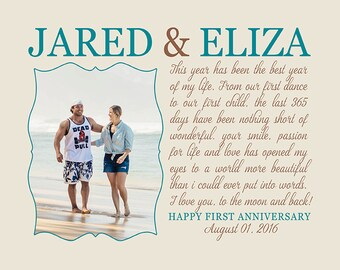 Anniversary Gift, Husband Wife, First Year Anniversary Gift, Song Lyrics Photo Marriage Quotes Cursive Calligraphy Words | WF358