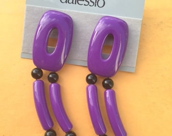 1980s Purple Dangly Earrings...retro accessories. dalessio. pierced. dainty. mod. classic. 80s earrings. mod. twiggy. big earrings. wedding