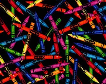 Timeless Treasures - Back to School - Crayon Toss - Black - Fabric by the Yard C1488-BLK