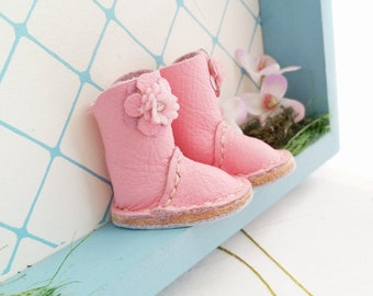 Blythe Azone PureNeemo M S XS Pullip Dal Doll Mini Light Pink Flower Leather Boots Hand Made By MizuSGarden
