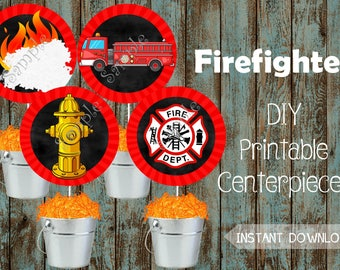 Fireman Centerpieces, Fireman Decorations, Fireman Birthday Party, Fireman Party Supplies, Firefighter Centerpieces, Fire truck Centerpieces