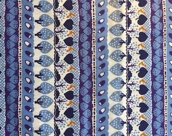 Sevenberry Nordic Story Stripe Blue Fabric Cotton Fabric Tree Fabric Sevenberry Fabric Blue Fabric