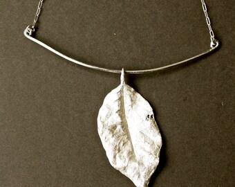 Large sterling silver leaf pendant, leaf pendant, nature pendant, leaf necklace, choker, silver pendant, silver choker, leaf jewelry
