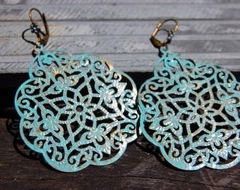 Bohemian Earrings, Lightweight Earrings, Turquoise Patina Earrings, Dangle Earrings, Boho Chic Jewelry, Ethnic earrings, Hippie Gift for her