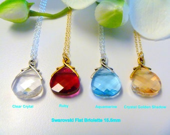Crystal Necklace - Crystal Jewelry - Crystal Pendant - Ruby Crystal Necklace - April Crystal Necklace - Aquamarine Crystal Necklace