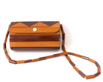Vintage 50s 60s Wooden Purse with Beaded Strap