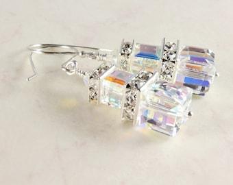 Clear Crystal Cube Earrings, Swarovski Crystal Aurora Borealis Earrings, Sterling Silver, Bridal Earrings, April Birthstone, Prom Earrings