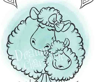 I Love Ewe Mom and Baby Sheep Simple Design with Sentiment, Cookie Image, Digital Stamp, Coloring Page, Card Image-  SP17-EWE2