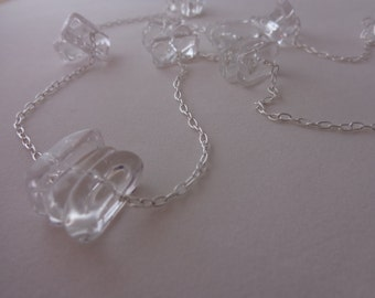 Rock Crystal Triple Slice Sterling Silver Necklace