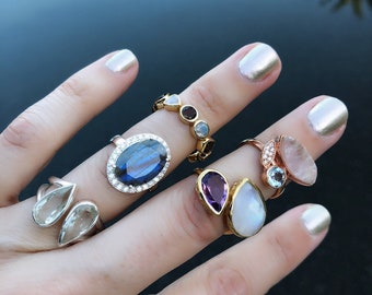 Labradorite gemstone rings