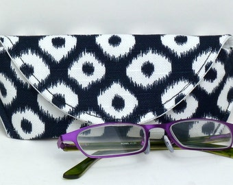 Fabric Eyeglass Case/Sunglass Case Magnetic Closure Blue White Ikat