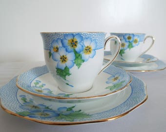 Pair of Bell China Teacups With Blue Flowers, Hand Painted. 1930s Vintage Blue and White Tea Cups and Cake Plates. Perfect For Afternoon Tea