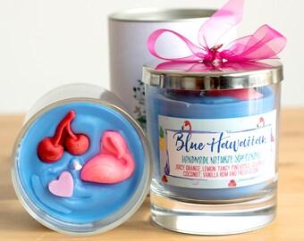 Blaue Hawaii - Luxus-Glas-Glas-Kerze