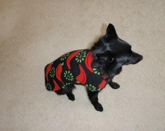 Red Hot Chili Pepper Fleece Dog Coat