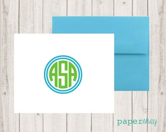 Personalized Stationery, Personalized stationary,  Monogram stationery, Monogram Note Cards, Personalized Notecards, CIRCULAR FRAME