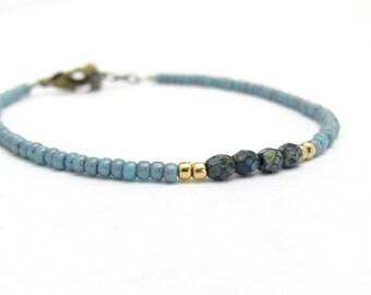 Denim Blue Friendship Bracelet, Seed Bead Bracelet, Beaded Bracelet, Blue Bracelet, Dainty Bracelet, Miss Ceces Jewels Hawaii Jewelry
