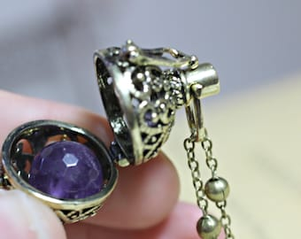 Amethyst Necklace, February Birthstone, Bola Locket, Wish Box Necklace, Antique Bronze Orb Necklace, Bola Necklace, Angel Caller Necklace