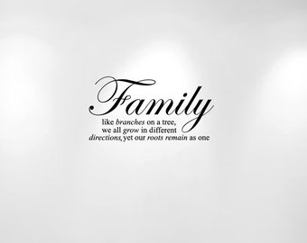 """Family Tree Wall Decal Quote Like Branches on a Tree (20"""" wide x 10 1/2"""") 1134"""