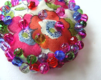 Liberty fabric, mix colour, hand embroidered, Ring or Brooch, floral,hot pink, red, blue , green, by NewellsJewels on etsy