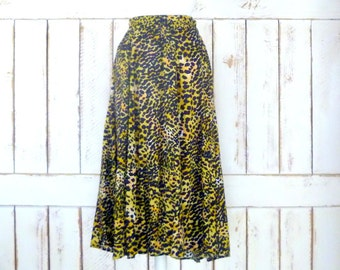 Vintage cheetah animal print maxi skirt/safari print skirt/cat print skirt