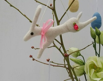 Needlefelted Hare Hanging Decoration. Needle Felted Hare. Rabbit. Needlefelted Hare.  Needlefelted Rabbit.  Easter Decoration. Hare