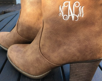 Personalized Boots, Monogram Booty Ankle Brown
