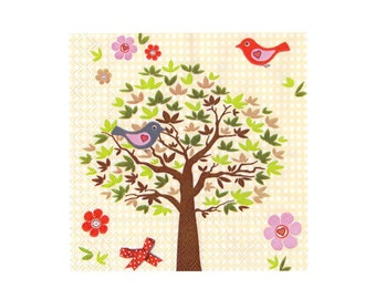 Paper napkin for decoupage, mixed media, collage, scrapbooking x 1. No. 1226 Picnic Birds