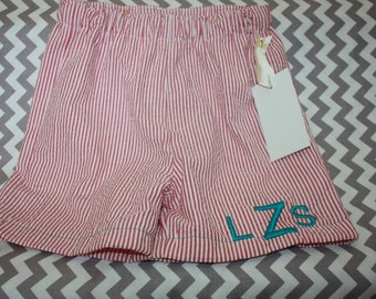 Boys seersucker swim suit  Monogram  Match sibling Swimsuit