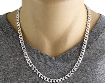 "Men's 925 Sterling Silver Curb Link Chain Necklace - 180 Gauge 7 mm - 22""/24"""