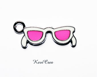 3 x pink white enameled glasses charms