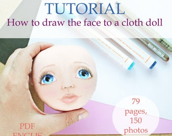 How to draw face, Tutorial, cloth doll, pdf, step by step guide, drawing a face, rag doll, paint a face, Face Painting, for beginner, faces