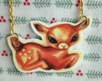Vintage, kitch style hand painted watercolour original deer necklace// wearable art