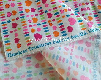 """cotton fabric, colorful hearts print cotton twill fabric, half yard by 58"""" wide"""