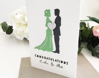 Personalised Green Wedding Card, Greenery Wedding Card, Couple Wedding Card, Custom Wedding Gift, Marriage Card, Newlyweds Gift, Congrats