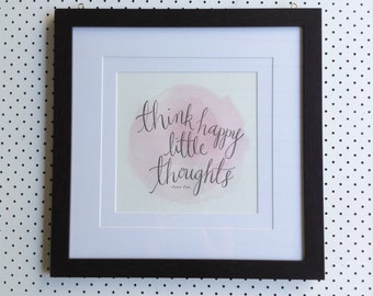 Think Happy Little Thoughts - Letterpress Poster (Pink)