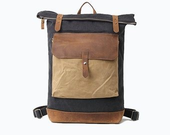 Vintage style Bedford Leather Canvas Backpack - Grey