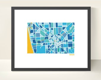 Adelaide Australia City Map - original Illustration print