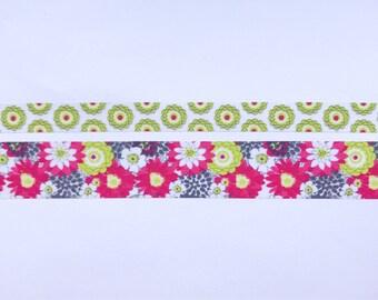 """Modern Floral Washi Tape 24"""" Sample Set - Skinny (10mm) and Wide (20mm)  - Bobbins"""