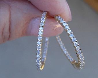1 Carat 18K Yellow Gold Inside Outside Diamond Hoop Earrings - 1 Inch