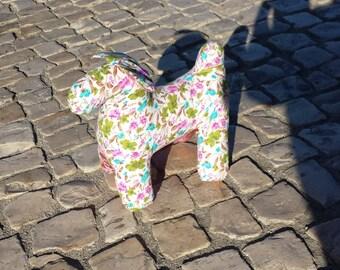 Art Sculpture Toy dog house pink textile