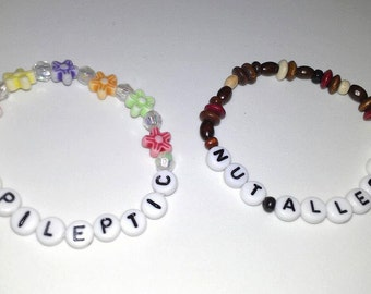 Medical alert child's bracelet with any wording and a choice of flower or wooden beads, child's medical alert bracelet, safety bracelet