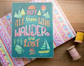 Pas tous ceux qui se promener sont perdus cadeaux aventureux blanc doublé Journal, Journal de poche de l'écriture, pour elle, aztèque géométrique motif cahier