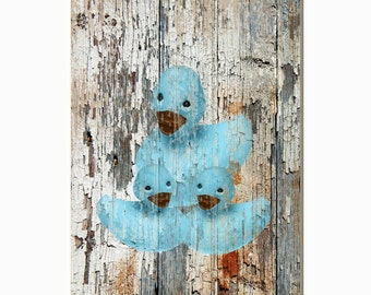 Rustic Vintage Boys/Girls Farmhouse Bathroom Decor,Country  Rustic Ducks Brown Blue Home Decor Matted Picture