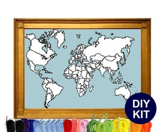 World Map Cross Stitch Kit with country map outlines. Counted Cross Stitch Chart Modern Decor. Aida or Evenweave fabric and DMC floss