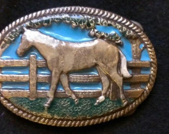 Western belt buckle in blue
