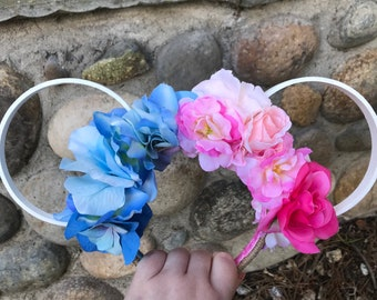 Princess Floral Twine Ears - White/Blue & Pink