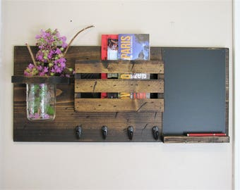 Jar, Mail Holder, and Chalk Board, Rustic Organizer, Key Holder, Personalized Option Available